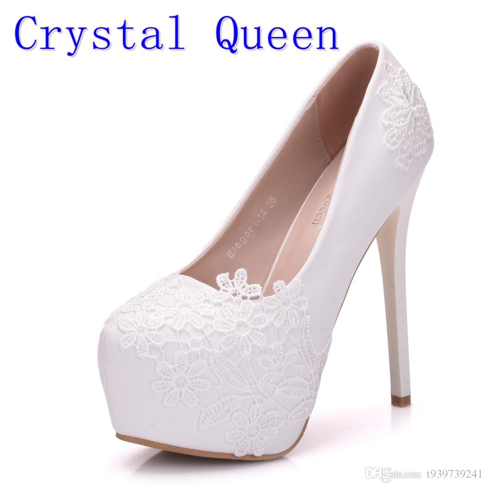 Crystal Queen Bridal Shoes Summer Hollow White Lace Beautiful Wedding  Marriage Flower High Heeled Women S Pumps Woman Shoes White Mountain Shoes  Scholl ... 1876e73cca42