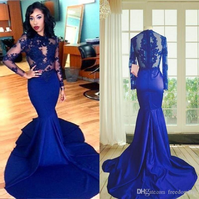 ca180bcdd03 Sexy Royal Blue Prom Dresses Long Sleeves Mermaid Style Lace High Neck See  Through Lace Appliques African Party Evening Gowns 2017 Formal Dress For  Women ...