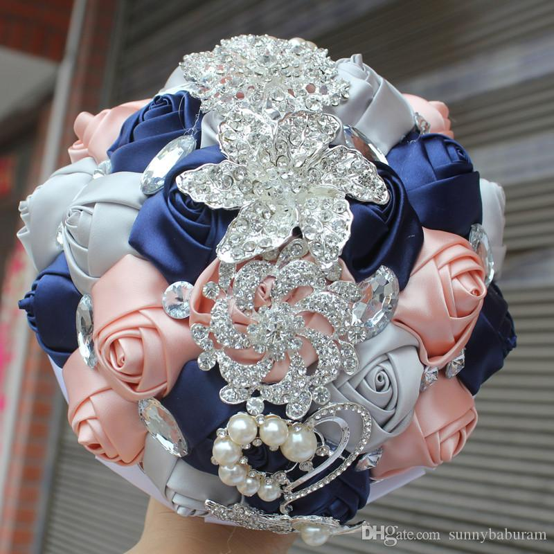 Navy Pink Silver Wedding Bouquet Artificial Sweet 15 Quinceanera