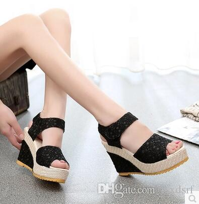 Summer new Korean leisure wild female high-heeled open-toed sandals slope with non-slip heavy-bottomed muffin shoes tide