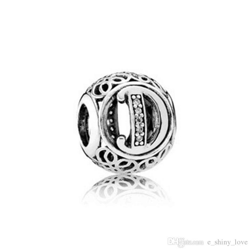 / Mode Véritable 100% 925 Sterling Silver Round Lettre Perles Pour Marque Européenne Bracelet Authentique De Luxe DIY Bijoux Cadeau STB151