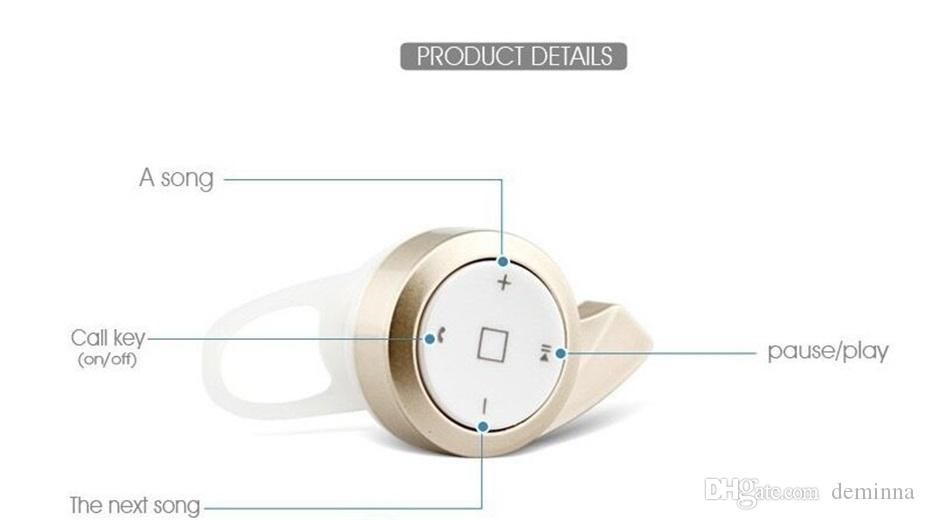 With retail Box Mini A8 stereo bluetooth headset earphone headphone mini V4.0 wireless for iPhone Samsung tablet High quality