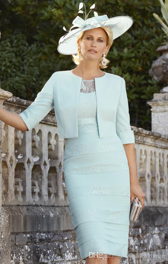 Chic Mint Green Lace Mother Of Bride Dresses With Half Sleeve Tiered ...