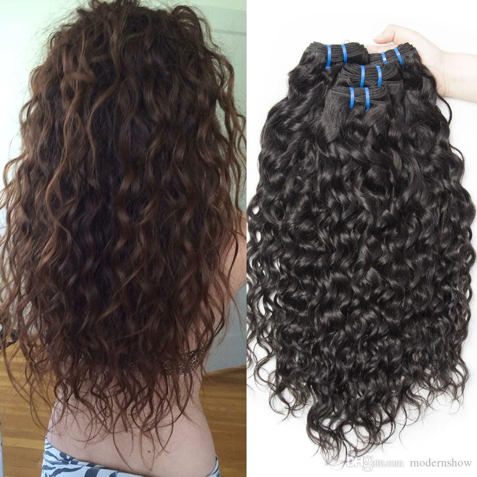 Brazilian Virgin Human Hair Weave Bundles Water Wave Wet And Wavy