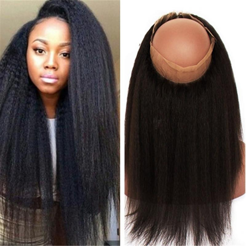 8A Brazilian Human Hair 360 Degree Lace Frontal Closure 22.5x4x2 Kinky  Straight Wave Full Lace Band Frontals For Black Women Curly Lace Closures  Onyc Hair ... 1e0f96929