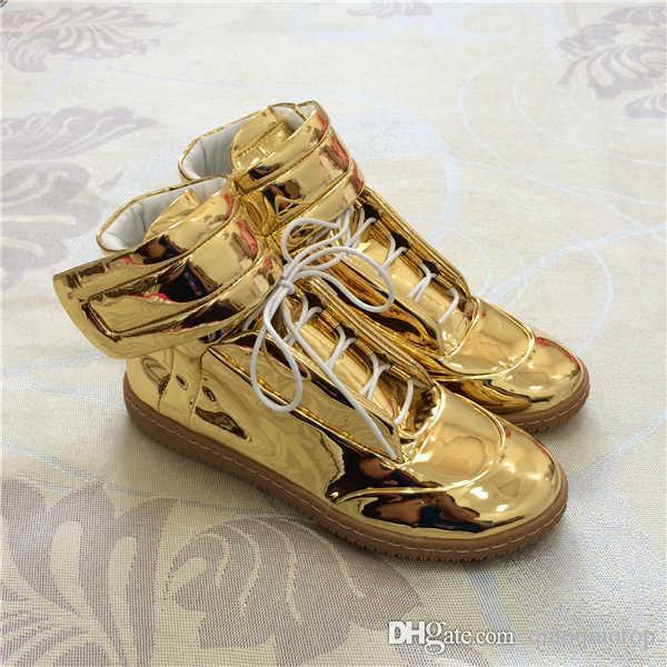 más vendido verse bien zapatos venta modelos de gran variedad Compre 2018 High Top Zapatos Dorados Zapatillas De Deporte De Lujo Para  Hombre Moda Kanye West Casual Zapatos Para Caminar US13 38 47 A $70.36 Del  ...