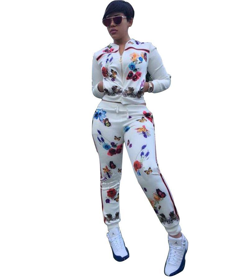 Frauen Sets Sweat Suit Schmetterling Druck 2 Stücke Set Langarm Sport Anzüge Crop Top + Sweatpants Frauen Trainingsanzüge Kleidung
