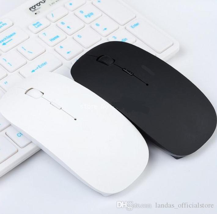 Thin USB Optical Bluetooth Mouse thin Wireless Mouse 2.4G Receiver Super Slim Mouse For Computer PC Laptop Desktop black white Candy color
