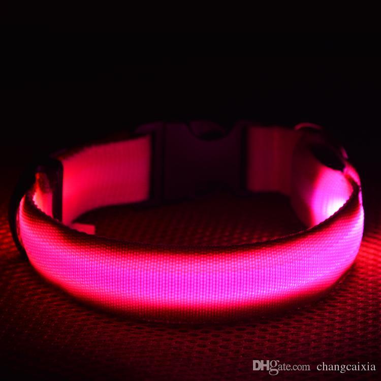 es 4 Tamaños de Seguridad Nocturna Luz LED Que Brilla intermitente Resplandor de Nylon Collar de Perro Mascota Pequeño Perro Mediano Collar de Mascota Collar de Perro Que Destella Collar de Seguridad