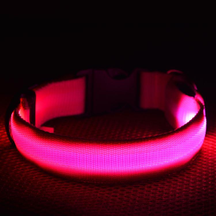 8 cores 4 tamanhos noite de segurança led luz piscando brilho de nylon pet coleira de cachorro pequeno cão médio pet coleira de cachorro coleira de segurança piscando