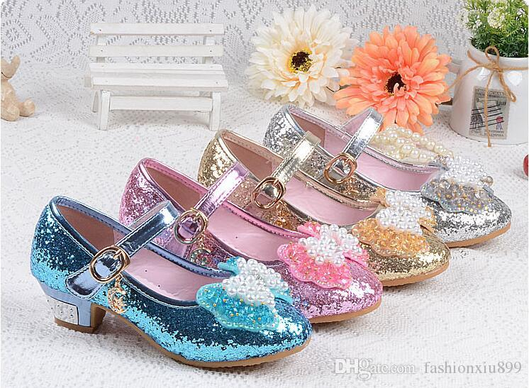 4685716b8724 Girls Shoes Kids Heels Wedding New 2019 Summer Baby Girl Dress Shoes  Princess Children Sequins Bow Party Dance Shoes Pink Blue Leather Girls  Boots Baby ...