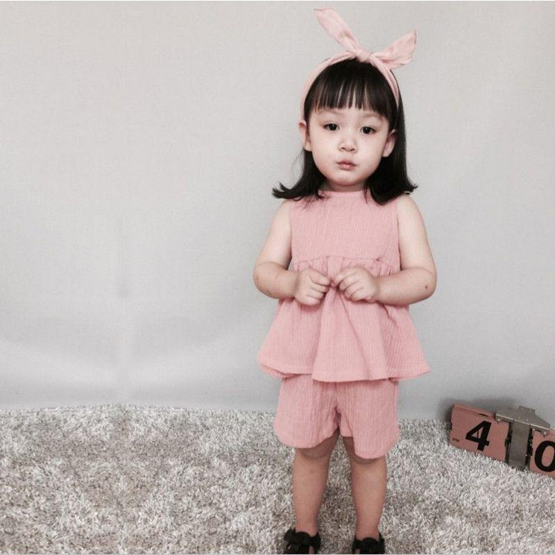 Summer Baby Girls Clothing Set Linen Swing Girls Top Short Baby Clothes Sleeveless Children Kids Clothes Newborn Outfit