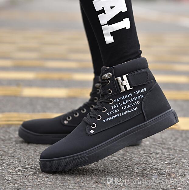 2019 горячая новая мужская мода весна осень обувь улица мужская повседневная мода высокий топ обувь холст кроссовки Бесплатная доставка
