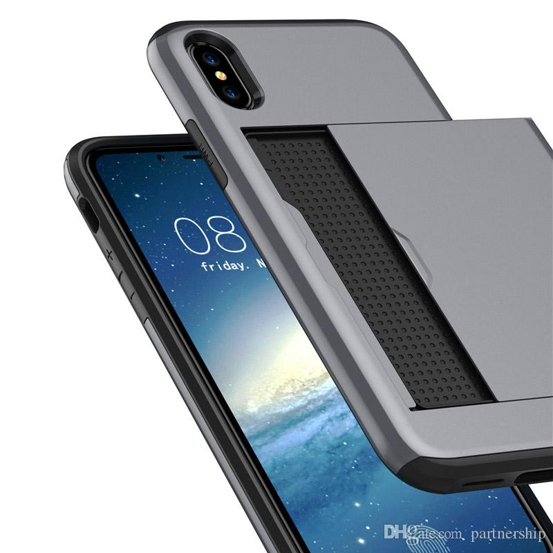 Hybrid High Impact Resistant Shockproof Hard Shell for iphone X 8 6 6S 7 Plus / Samsung Galaxy Note8 S8 Plus with Card Holder Slot Cover