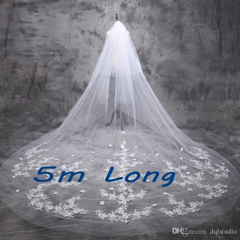 5 m Brautschleier Lange Brautschleier Top Qualität weichen tüll mit Floral Applique Shining Perlen Hochzeit Zubehör 2017 Neue Ankunft Top Qualit