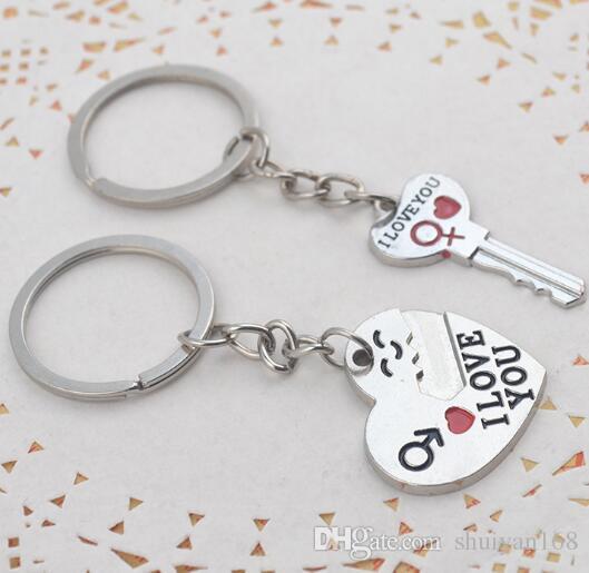 Couple je t'aime coeur porte-clés anneau porte-clés amant de la chaîne romantique créatif cadeau d'anniversaire