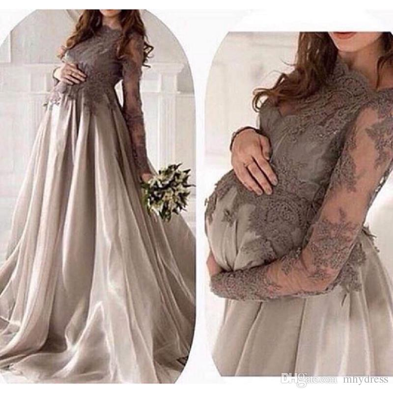 38012d387e6 Long Sleeved Maternity Evening Dresses 2017 Elegant Sheer Appliqued Tulle  Special Occasion Party Dress Long Prom Gowns Summer Evening Dresses Uk  Terani ...