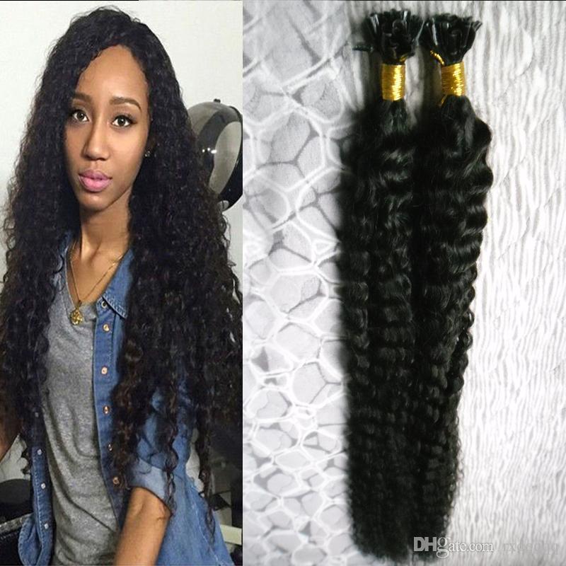 Perulu bakire saç sapıkça kıvırcık Ön Gümrük fusion İnsan saç u İpucu 100g 1g / strand 100 s keratin sopa İpucu İnsan saç uzantıları Jet Siyah