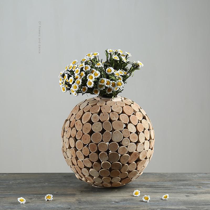 Wooden Vase Pastoral Decoration Home Function Tabletop Flower Vase