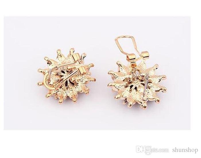 Fashion boutique Lily flower elegant ear clip stud earrings for women Red black white colors