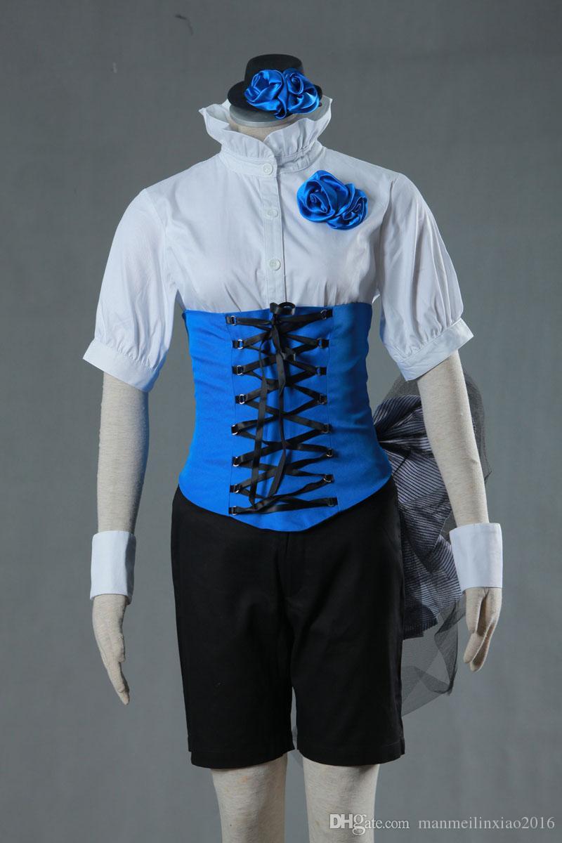 Bonito Terno COS Mordomo Preto Ciel Uinform Traje Cosplay das Mulheres Outfit Custom Made Qualquer Tamanho de Alta Qualidade terno Completo