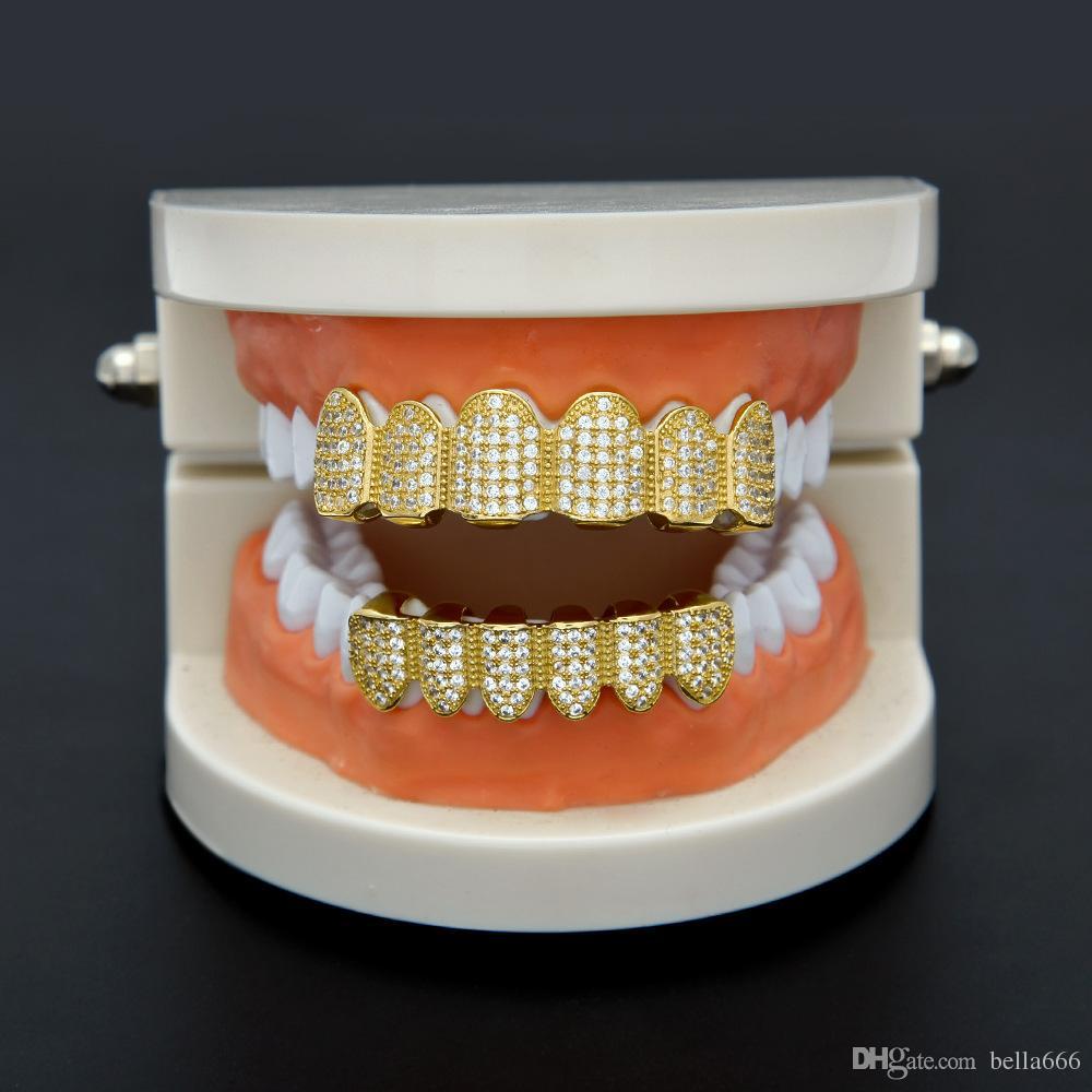 Environmental Safety Real Gold Plating Full High Grade Cubic Zircon Top & Bottom Dental Grillz Set Silver Teeth for Hip Hop Women Men