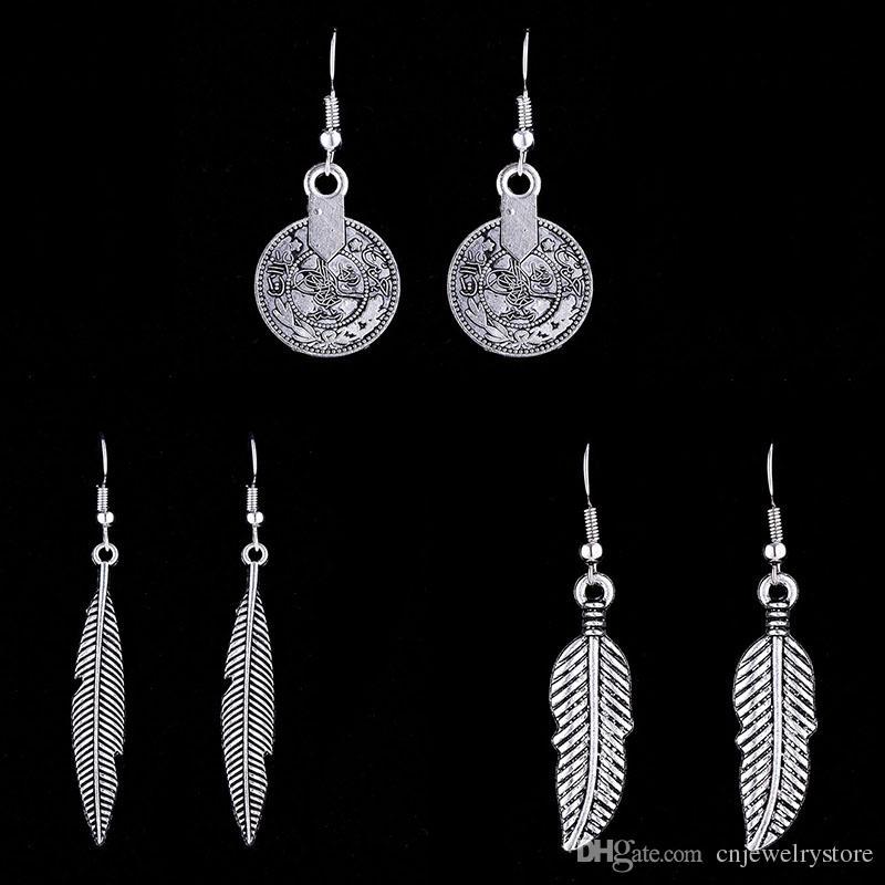 f28b693ec3ae8 Hot Retro Bohemian Boho Womens Antique Silver Simple Leaf Charm Hook Dangle  Earrings Tribal Gypsy Coin Pendant Drop Earrings