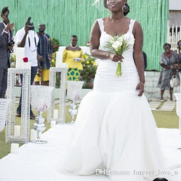 Vestidos de novia de sirena con espalda baja sexy Correas de encaje con espalda abierta Ajuste y falda de tul abullonado más vestido de novia de talla grande Tren largo
