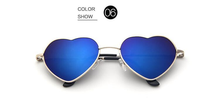 Fashion Women's Men's Sunglasses Women Girl Love Heart Shape Sunglasses Flat Lens Mirror Metal Frame Oversized Cat Eye Sun Glasses