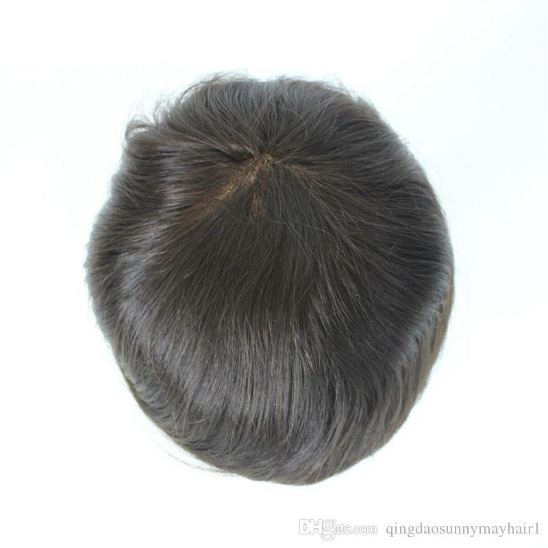 DHL Free Stocked Hommes Toupée Hommes Super Fine Base Taille 6 * 8 pouces Mono Dentelle et PU Artende Véritable Human Hair Toupeetop Qualité