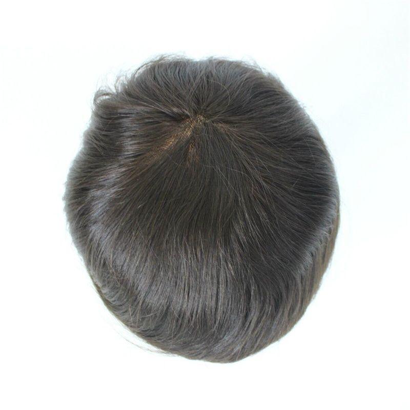 SOFT THIN Super swiss lace 100% European virgin human hair toupee for men, colour #1b, straight texture