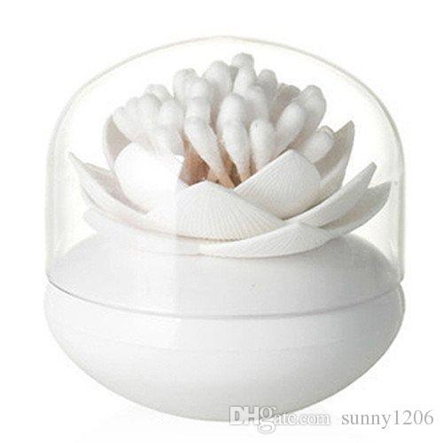 Q-conseils Titulaire Lotus Coton Swab Box Lotus Coton Bud Porte Titulaire Pièce Décor / Lotus Toothpicks Holder Toothpick Case