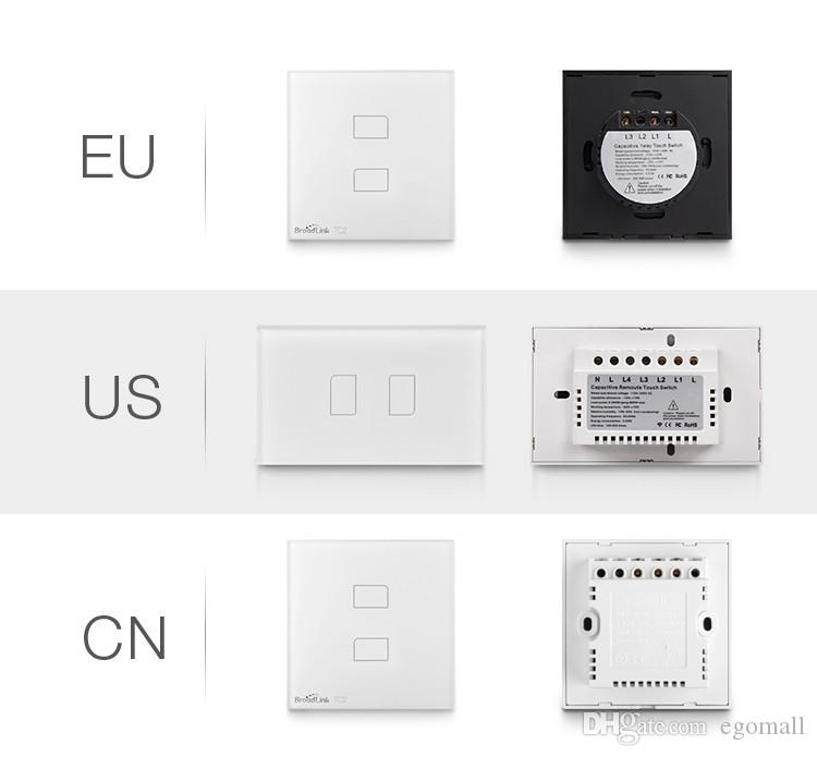 Broadlink US / AU TC2-1 / 2/3 giga Interruptor táctil de control remoto, Interruptor de luz de pared, Interruptor de luz de control inalámbrico para Smart Home