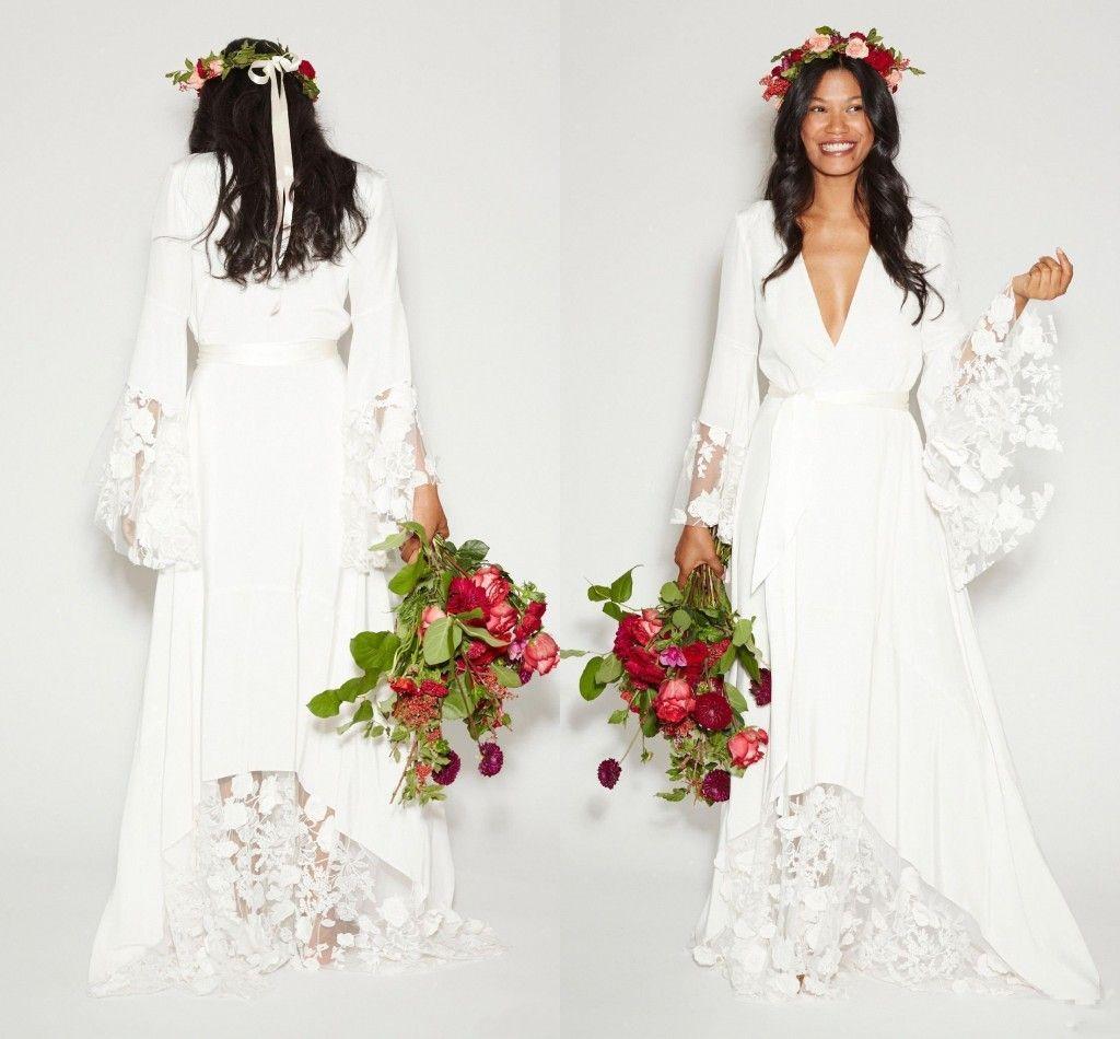 Discount 2019 Simple Bohemian Country Wedding Dresses Deep