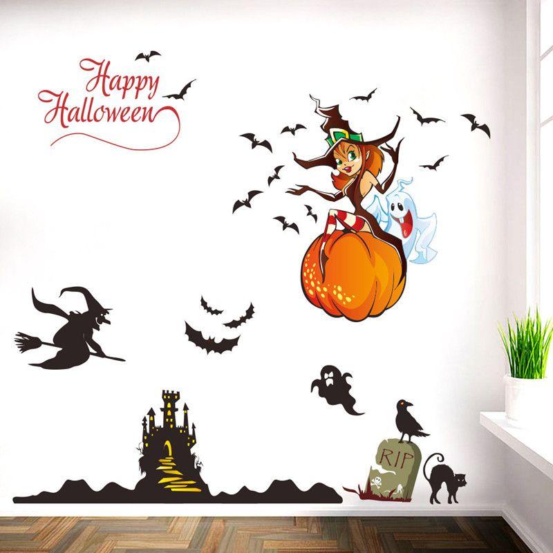 1 PZ Nuovo 112 * 68 cm Halloween Strega Pipistrelli Fantasma Rimovibile Wall Stickers PVC FAI DA TE Wall Art Decalcomanie Window Room Decor