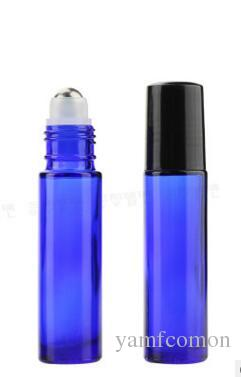10ml Blue Roller Bottles With Metal Ball for Essential Oil Aromatherapy Perfumes and Lip Balms Glass Make Up Bottles