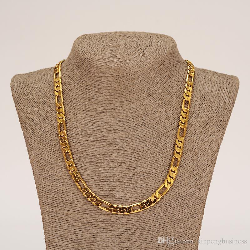 الأزياء 18 كيلو الصلبة الذهب الأصفر معبأ الرجال أو المرأة العصرية سوار 21 سم 60 سم قلادة مجموعة فيجارو سلسلة ووتش رابط مجموعة