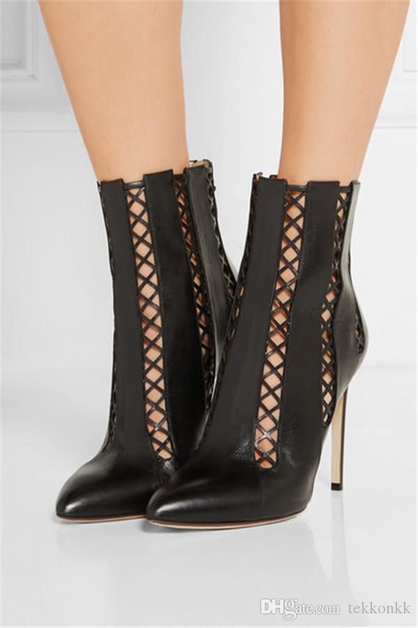 Compre Moda Mujer Corte Botines Negros Zapatos De Vestir De Cuero Geniune Tacones De Aguja Dedo Del Pie Puntiagudo Gladiador Botines A 17671 Del