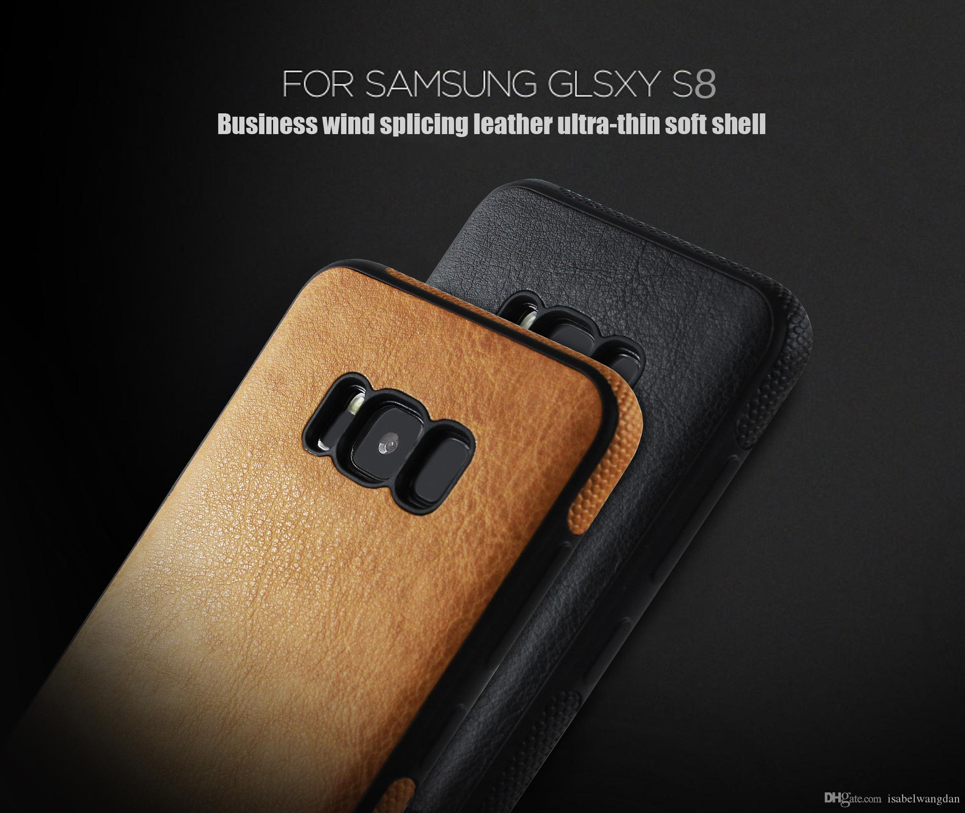 Luxury Leather Case For iphone 8 7 6 6s plus Cover Soft TPU Case For Samsung S8 Plus Case Cover