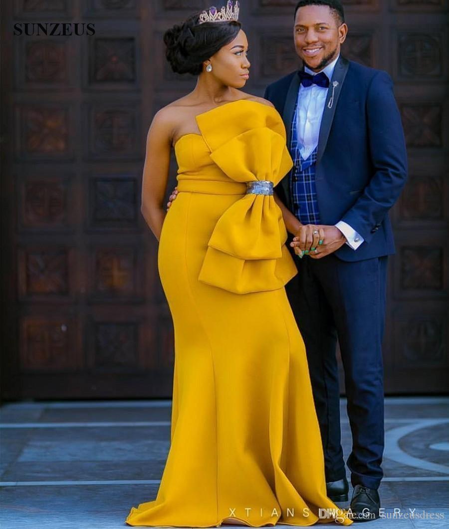 Vestidos de noche largos de sirena cariño amarillo con gran arco Vestidos de fiesta de mujeres africanas elegante desgaste formal