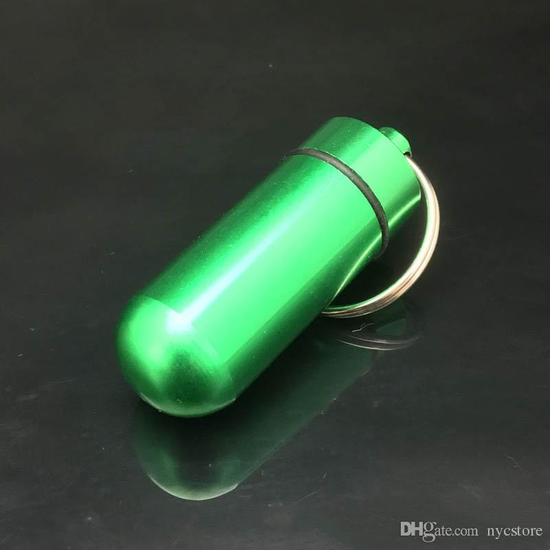 DHL Travel aluminum alloy Waterproof Pill Box Case keyring Key Chain Medicine Storage Organizer Bottle Holder Container KeyChain 15x48mm