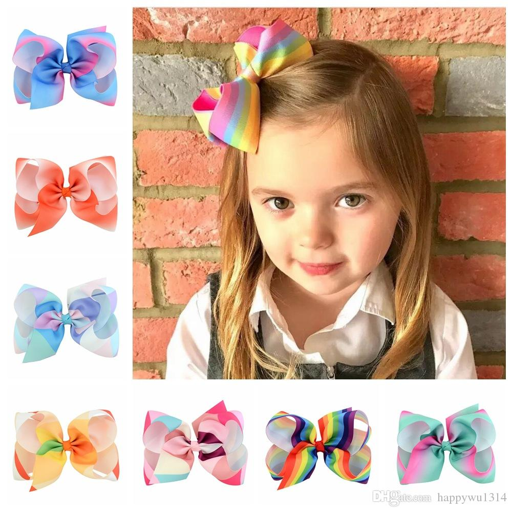 Kids Hair Clips Accessories Rainbow Jojo Bows For Girls Colorful