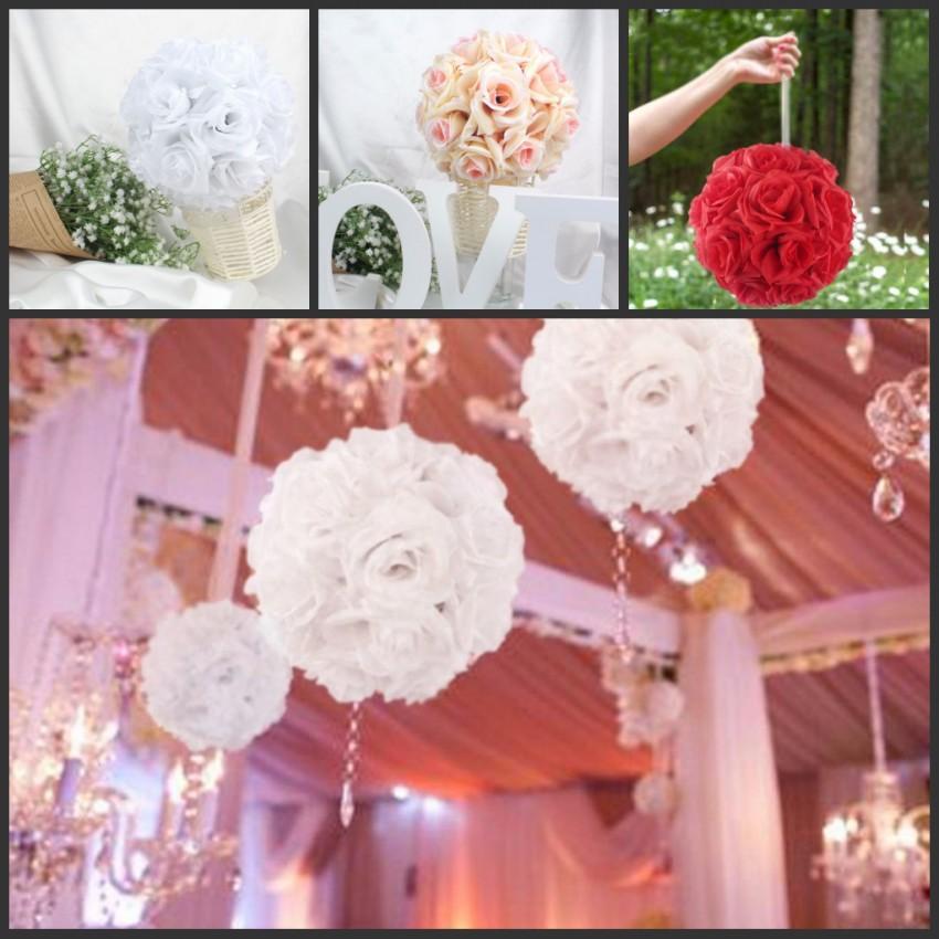 Online Cheap 18cm/13cm Diameter Silk Rose Flower Ball Artificial ...