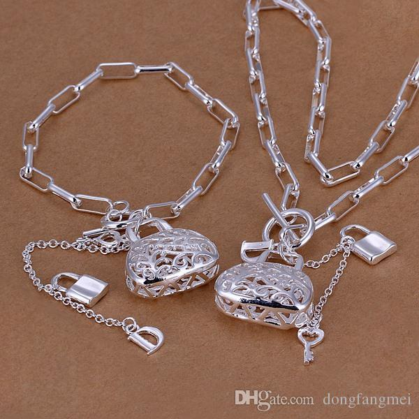 Split color inlay heart lock, spoon sterling silver plated jewelry sets for women DS010,popular 925 silver necklace bracelet jewelry set