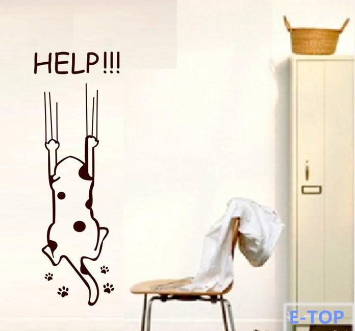 Cartoon help cat Refrigerator Fridge Wall stickers child kitchen cabinet furniture glass decals Home decoration