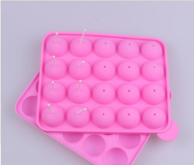 Pink Silicone Tray Pop Cake Stick Pops Mould Cupcake Baking Mold Party Kitchen Tools 22.5*4*18cm
