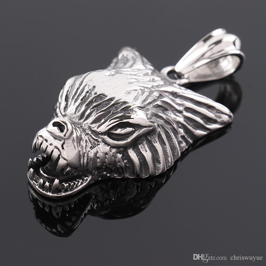 Alta Qualidade Wild Wolf Espírito cabeça pingentes colar de aço inoxidável 316L Assistente Witcher Norse Vikings NP860 Jóias