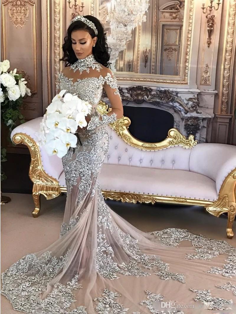 Atemberaubende Meerjungfrau Luxus Kristall Brautkleider Perlen High Neck Appliques Lange Ärmel Hochzeitskleider Durchsehen Chapel Zug Brautkleid