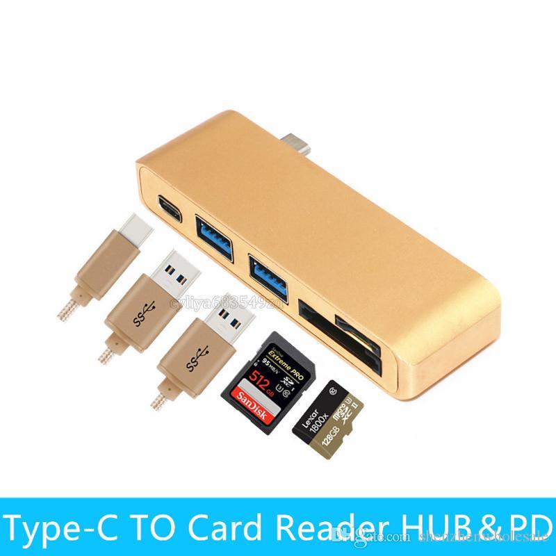 Hub 5 en 1 type C Hub USB C USB 3.0 Hub de lecteur de carte Micro SD / SD avec port de chargement pour Macbook