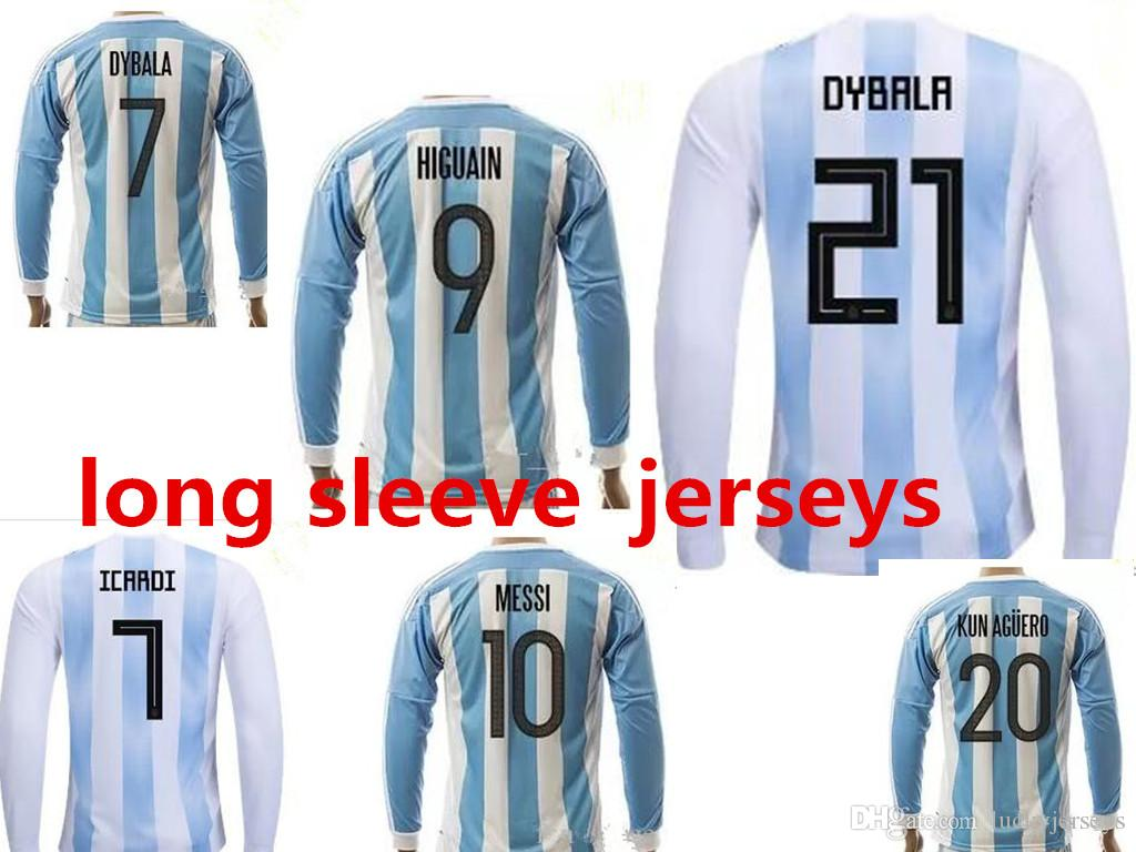 70fd18d05 ... best quality argentina long sleeve football shirt 10 messi di maria kun  aguero maradona higuain teve